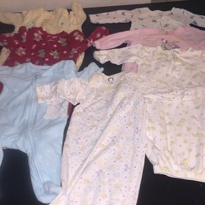 C) baby girl pijamas 3 and 3 to 6 months
